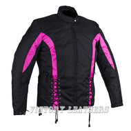 Women's Black & Pink Nylon Riding Jack LJ266PK