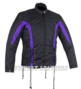 Women's Black & Purple Nylon Riding Jack LJ266