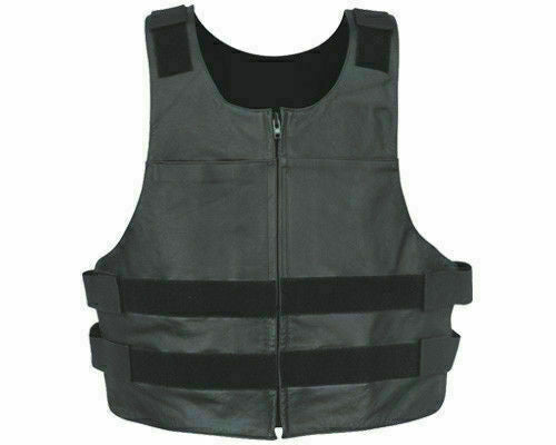 Men's Swat Style Leather Vest with Front Zipper