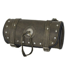 Load image into Gallery viewer, Studded Brown Leather Motorcycle Tool Bag