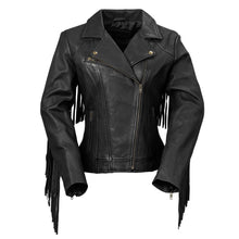 Load image into Gallery viewer, Ladies Motorcycle Leather Jacket with Fringes  ( DAISY ) WBL1503 Multi Colors