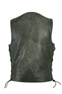 Men's Motorcycle Sort Premium Gray Leather Vest With Concealed Carry Pockets DS105V