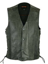 Load image into Gallery viewer, Men's Motorcycle Sort Premium Gray Leather Vest With Concealed Carry Pockets DS105V