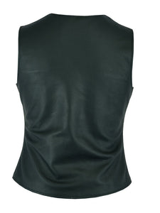 Women's Stylish Longer Body ¾ Leather Vest with Gun Pockets DS204