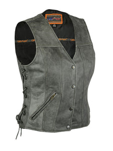 Women's Gray Single Back Panel Concealed Carry Leather Vest DS205V