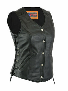 Women's Stylish Longer Body ¾ Leather Vest with Gun Pockets DS206