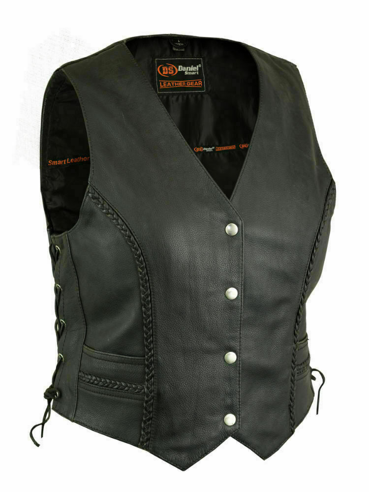 Women's Lightweight Braided Leather Vest DS222