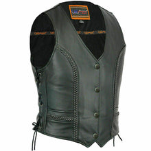 Load image into Gallery viewer, Women's Stylish Full Cut Braided Leather Vest DS272