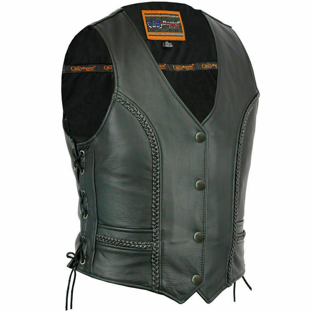 Women's Stylish Full Cut Braided Leather Vest DS272