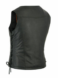 Women's Fashionable Lightweight Leather Vest Front Zipper DS280