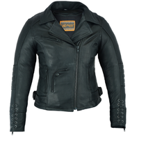 Load image into Gallery viewer, Women's Leather Motorcycle Jacket ( Must Ride ) DS802