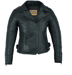 Women's Leather Motorcycle Jacket ( Must Ride ) DS802