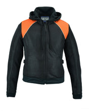 Load image into Gallery viewer, Women's Mesh 3-in-1 Riding Jacket (Black/Orange) DS827