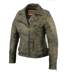 Women's Updated Stylish Antique Brown M/C Jacket DS836