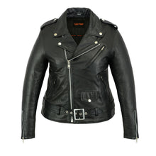 Load image into Gallery viewer, Women's Classic Plain Side Fitted Leather Motorcycle Jacket DS850