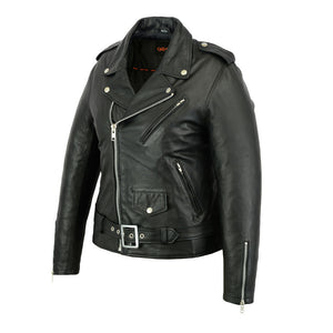 Women's Classic Plain Side Fitted Leather Motorcycle Jacket DS850