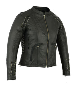 Women's Stylish Jacket with Grommet and Lacing Accents DS885