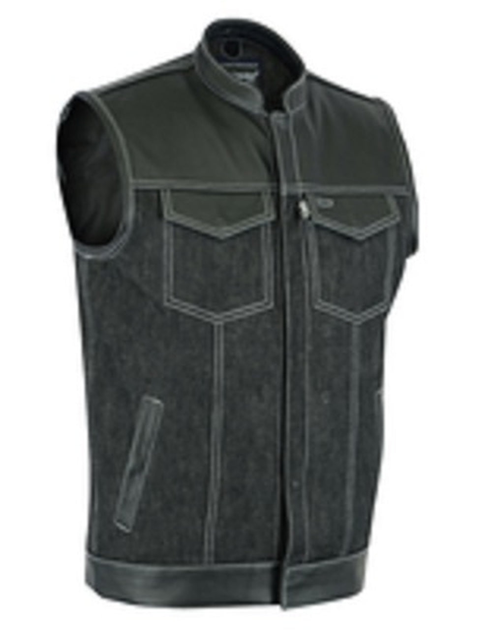 Men's Denim / Leather Motorcycle Vest DS900