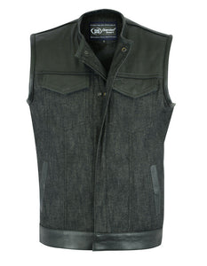 Men's Denim / Leather No Collar Vest  DS901