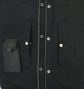 Men's Black Denim Vest With Leather Trim DS991
