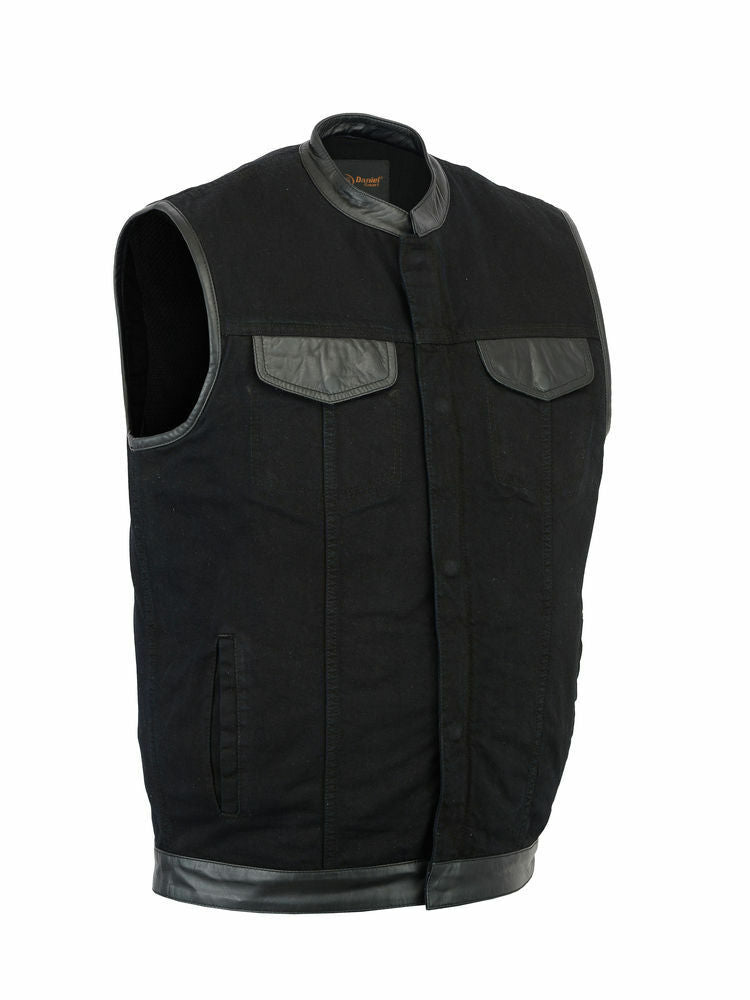 Men's Black Denim Vest With Leather Trim DS992