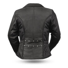 Load image into Gallery viewer, Ladies Leather Motorcycle Jacket ( ALLURE ) FIL103MNZ