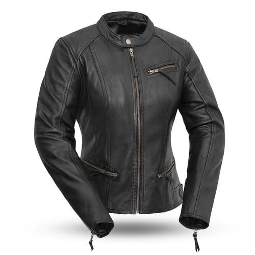 Ladies Leather Motorcycle Jacket ( FASHIONISTA ) FIL108CCBZ