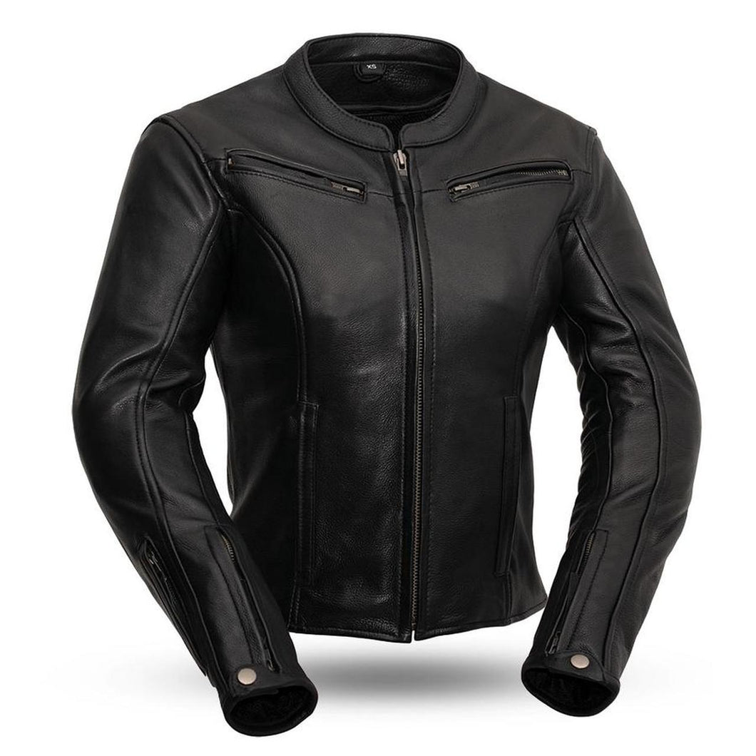 Ladies Leather Motorcycle Jacket ( SPEED QUEEN ) FIL158CLMZ