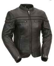 Load image into Gallery viewer, Ladies FMC Leather Scooter Jacket ( MAIDEN ) FIL162NTZC