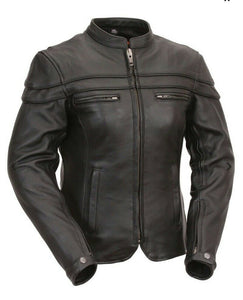 Ladies FMC Leather Scooter Jacket ( MAIDEN ) FIL162NTZC