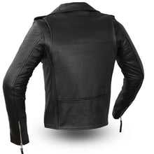 Load image into Gallery viewer, Ladies Leather Classic Motorcycle Jacket ( ROCKSTAR ) FIL182CHMZ