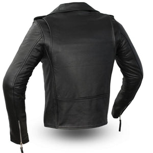 Ladies Leather Classic Motorcycle Jacket ( ROCKSTAR ) FIL182CHMZ