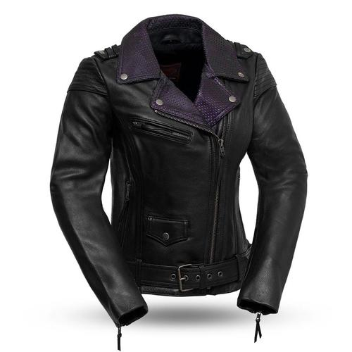 Ladies Leather Motorcycle Jacket with Purple Collar ( IRIS ) FIL184CJ