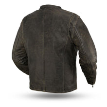 Load image into Gallery viewer, Men's Distress Black Leather Jacket ( Drifter ) FIM251CTFYZ