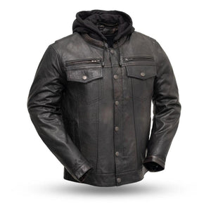First MFG Men's Leather Jacket with Hoodie FIM276SDTZ ( VENDETTA )