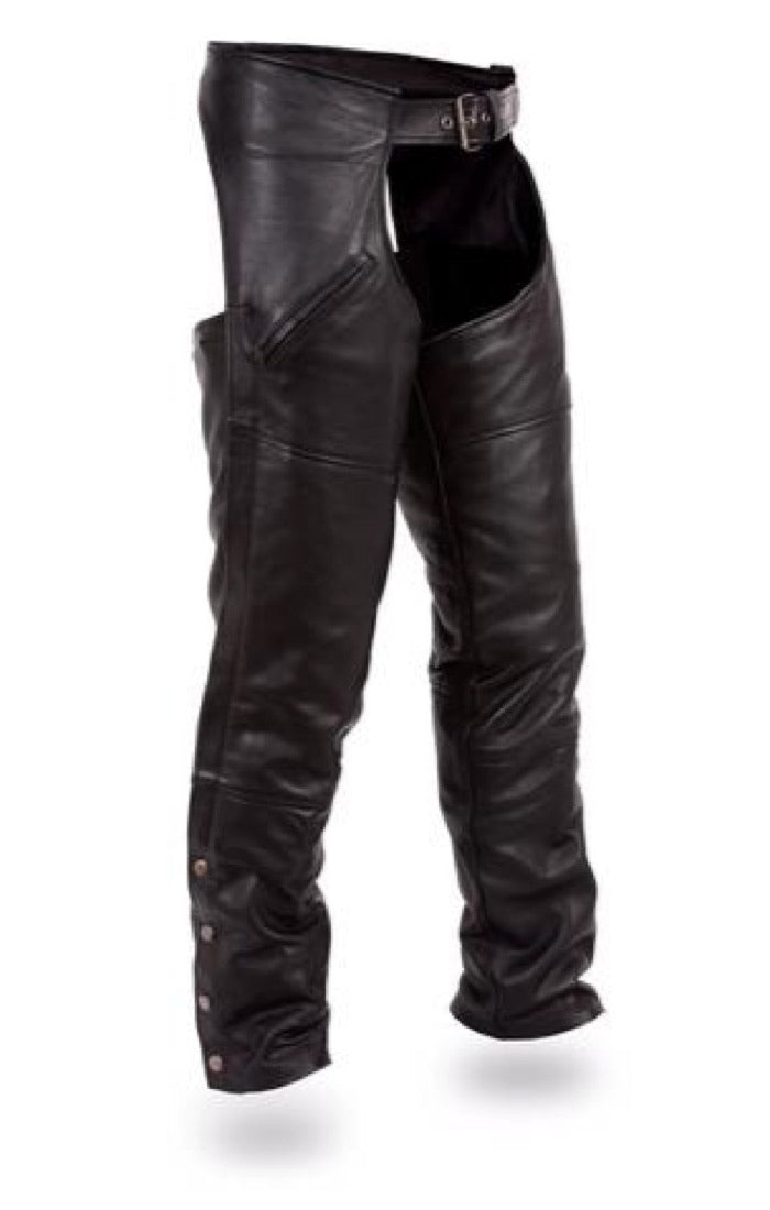 First MFG Unisex Leather Motorcycle Chaps ( NOMAD ) FMM830BM