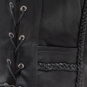 Women's Braided Leather Vest ( TRINITY )FIL508CFD