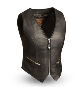 Ladies Front Zipper Leather Vest ( Montana ) FIL515CSL