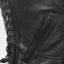 Load image into Gallery viewer, Ladies Leather Front Zipper Leather Vest ( RAVEN ) FIL542GDD