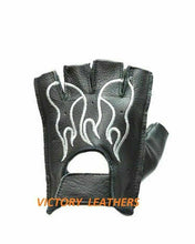 Load image into Gallery viewer, Men's Fingerless Leather Gloves with White Flames