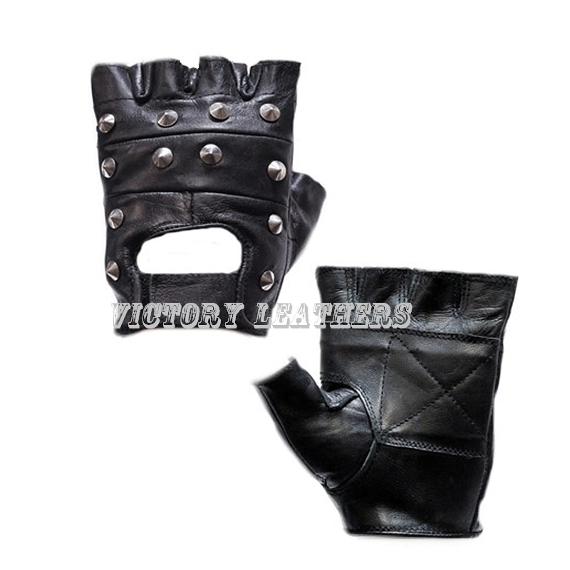 Men's Studded Leather Fingerless Gloves