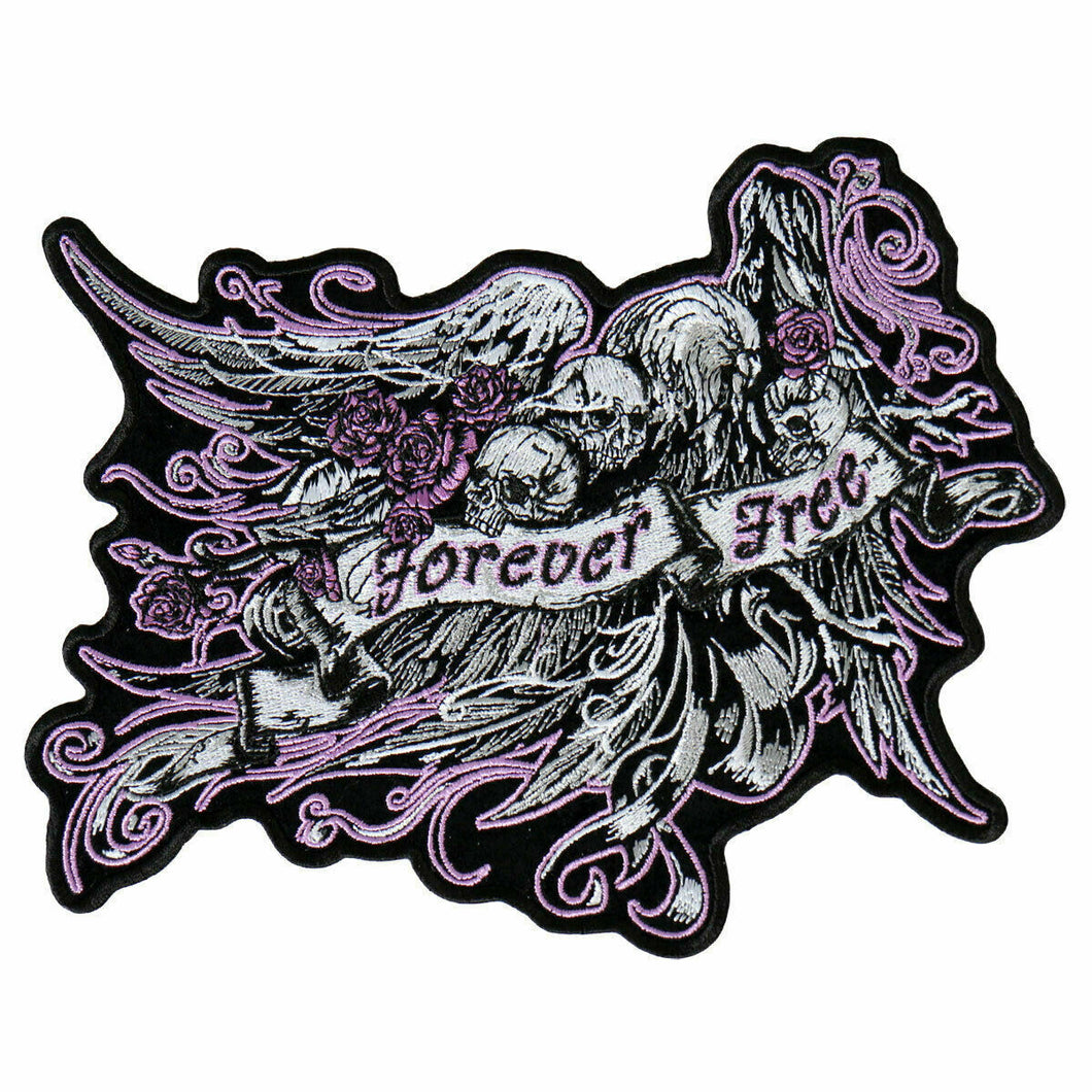 Ladies Large Forever Free with Skulls & Roses Patch