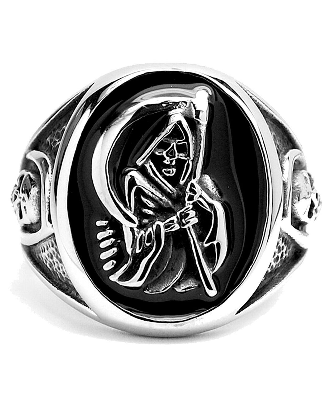 Stainless Steel Casted Grim Reaper Ring with Enamel