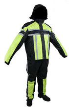 Load image into Gallery viewer, Men's Black / Lime Green Textile Two-Piece Rain Suit By Dream Apparel RS30-L