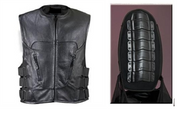 Men's Leather Motorcycle Vest with front Zipper Front Vest