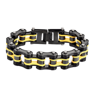 Men's Black & Yellow Stainless Steel Chain Bracelet
