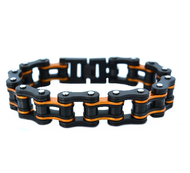 Men's Gunmetal Finish with Beryllium Orange Stainless Steel Chain Bracelet