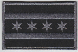 City of Chicago Flag Patch ( SUBDUED BLACK / GREY )