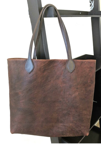 #3000 Tote Bag in heirloom, American Bison with bridle leather shoulder straps. interior bag with zipper pocket, cell phone case and key ring holder