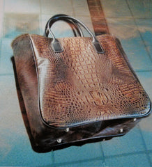 #350-LV - A Classic Western Style Large Tote for the Ladies! Italian Leather in Embossed American Croco with Hair on Hide gussets and bridal leather handles and trim.